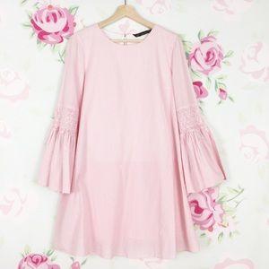 Zara Pink White Stripe Bell Sleeve Romper Dress M